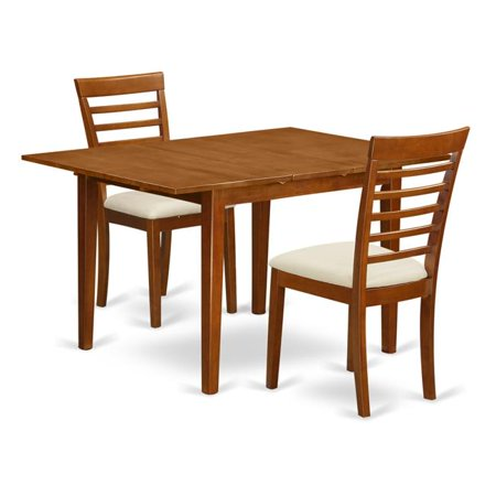 Set Milan Table with a Leaf & 2 Cushioned Chairs, Saddle Brown - 3 Piece
