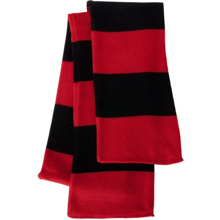 Sportsman - Rugby Striped Knit Scarf, Red Black