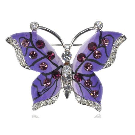 Austrian Crystal Butterfly Flower - Burgundy Rose Purple Austrian Crystal Rhinestone Butterfly Fashion Pin Brooch