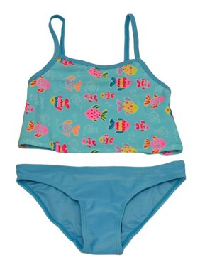 Starfish Little Girls Blue Fish Print Tankini Top Briefs 2 Pc Swimsuit