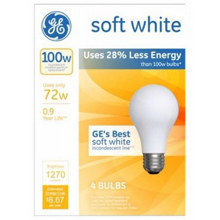 GE 66429 A19 Soft White Standard Light Bulbs 72 Watt Medium E26 Base (12 (Best Ge Home Fashion 72 Longs)