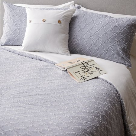 MoDRN Industrial 4 Piece Clip Jaquard Chambray Comforter Set