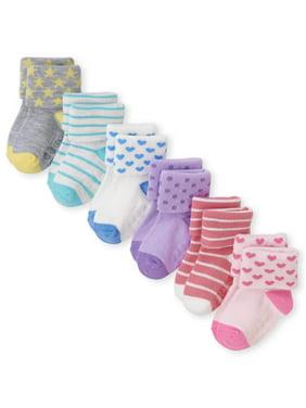 The Children's Place Stripe Print Cuff Socks, 6-Pack (Toddler Girls & Baby Girls)