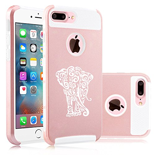For Apple (iPhone 8 Plus) Shockproof Impact Hard Soft Case Cover Tribal Elephant (Rose Gold-White)