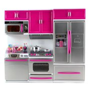 """My Modern Kitchen Dishwasher Stove Refrigerator Battery Operated Toy Doll Kitchen Playset w/ Lights Sounds for 11-12"""" Tall Dolls"""
