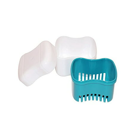 Dental Night Guard -Denture - Teeth Retainer Bath With Basket European Style Attractive Durable Design Color Teal - Size Standard