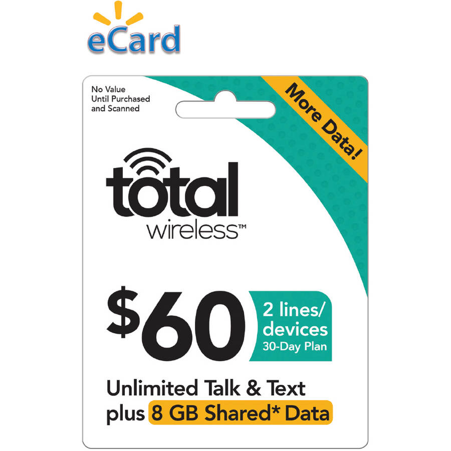 Total Wireless $60 Unlimited Talk, SMS and Shared Data (Capped at 8GB) 2 Lines, 30 Service Days (Email Delivery)