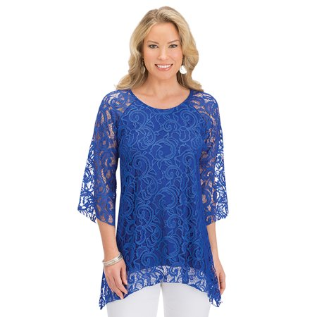 Women's All Lace Sharkbite Hem Tunic, 3/4 Sleeves with Scoop Neckline and Attached Lining, Medium, Royal Blue - Made in the