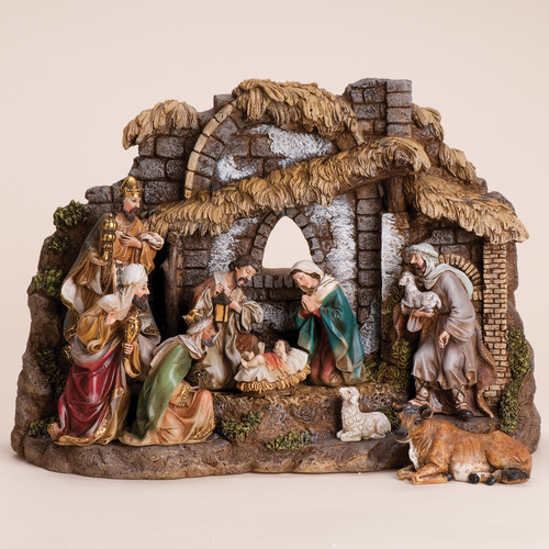 The Holiday Aisle 10 Piece Nativity Set with Stable