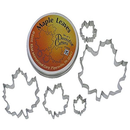 Assorted Leaves - R & M International Beautiful Set of 5 Assorted Size Maple Leaf Cookie Cutters Largest Cutter is 5
