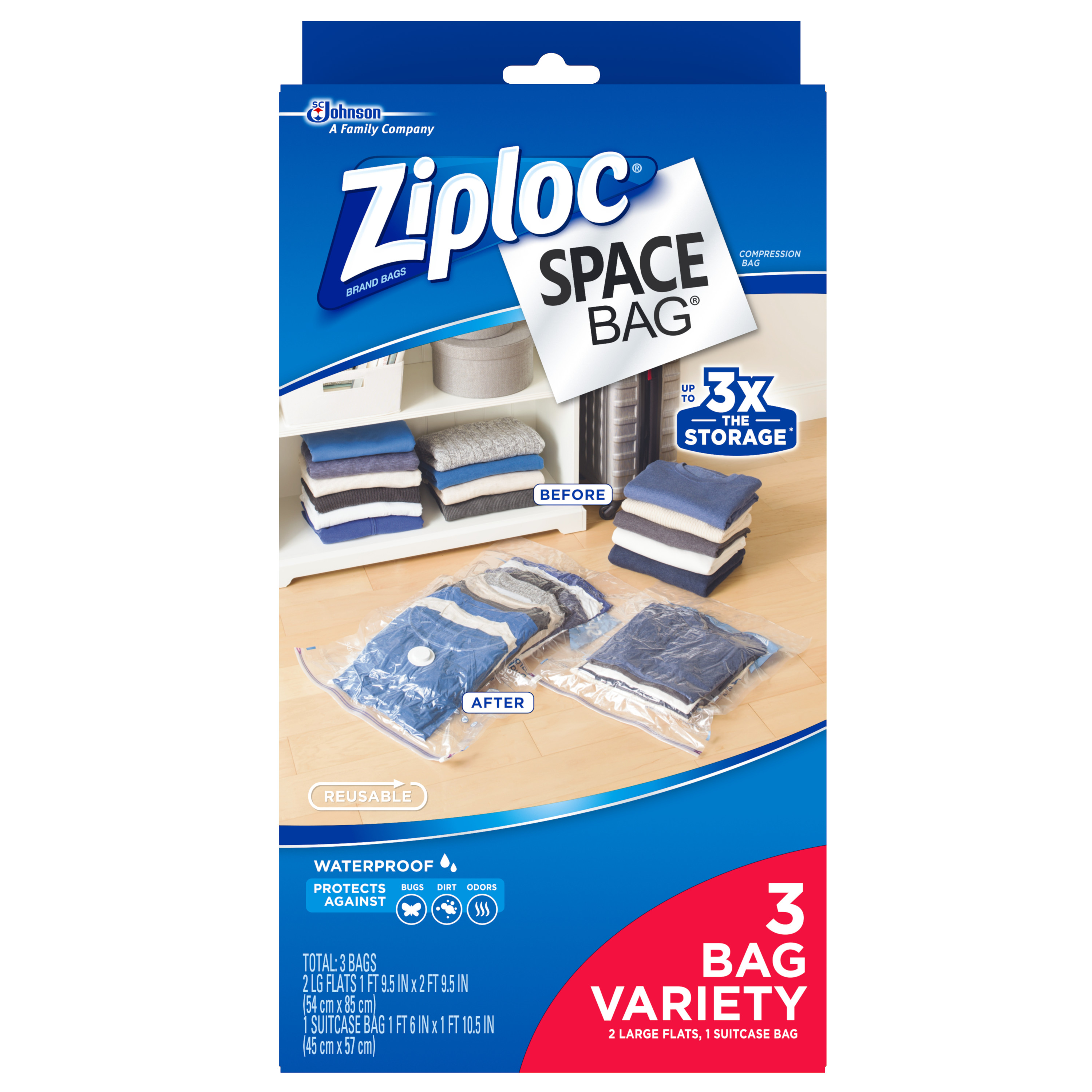 Ziploc Space Bag 3 count Variety Pack (2 Large Flat Bags, 1 Travel Bag)