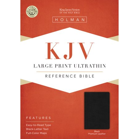 KJV Large Print Ultrathin Reference Bible, Premium Black Genuine Leather, Black Letter Edition