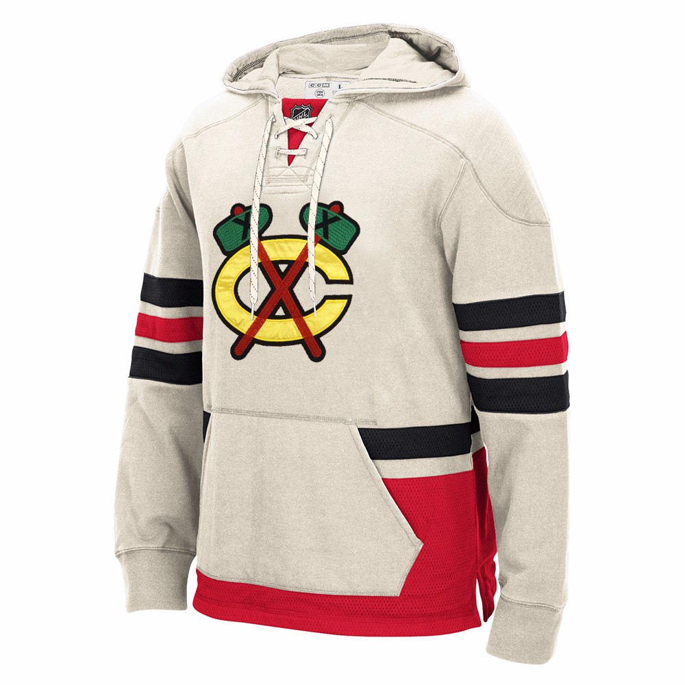 "Chicago Blackhawks NHL CCM Cream NHL Retro ""Lace Em Up"" Premium Pullover Team Applique Hoodie For Men by CCM"