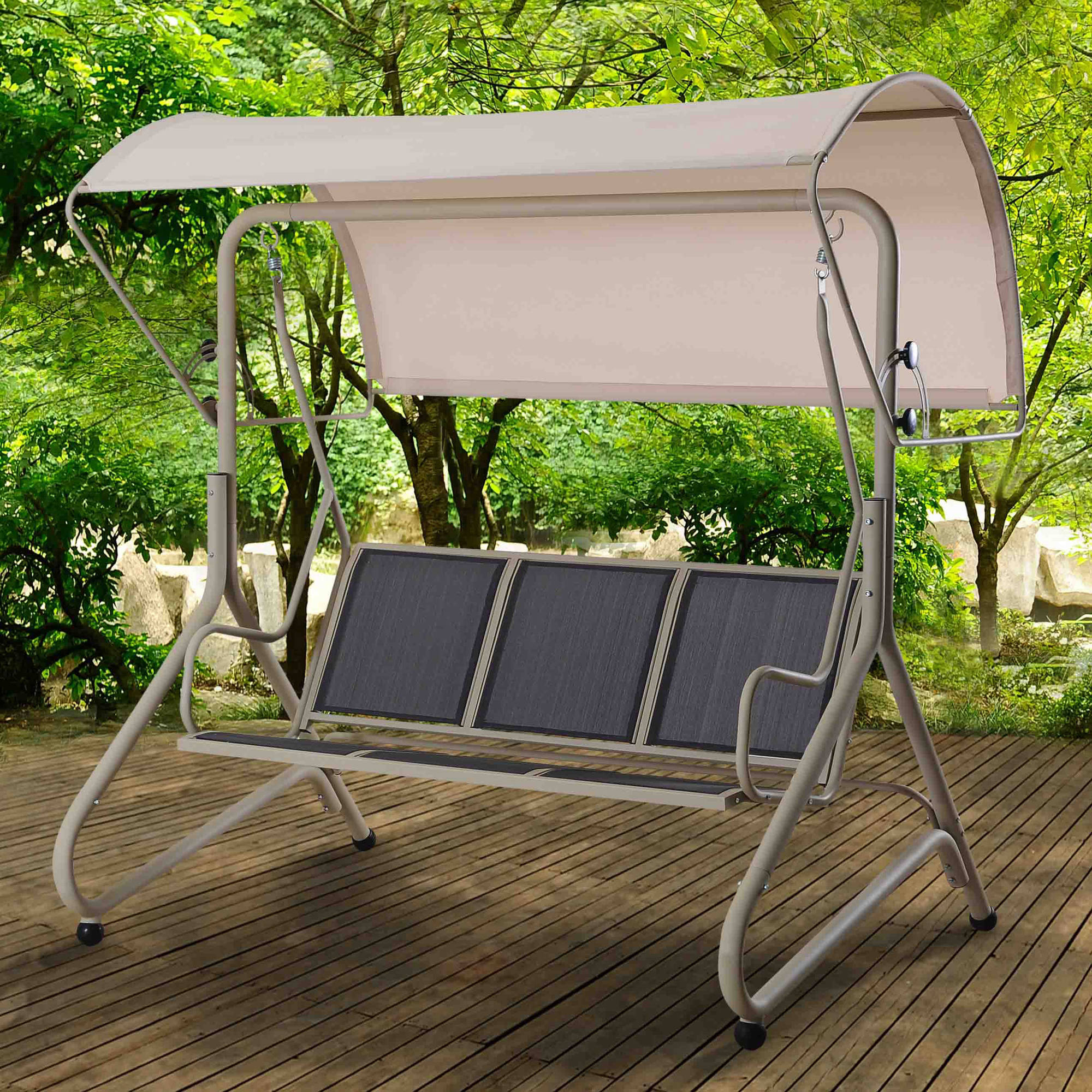 "Sunjoy 110205012 Sunrise Steel Swing with Canopy, 77"" x 57"" x 81"""