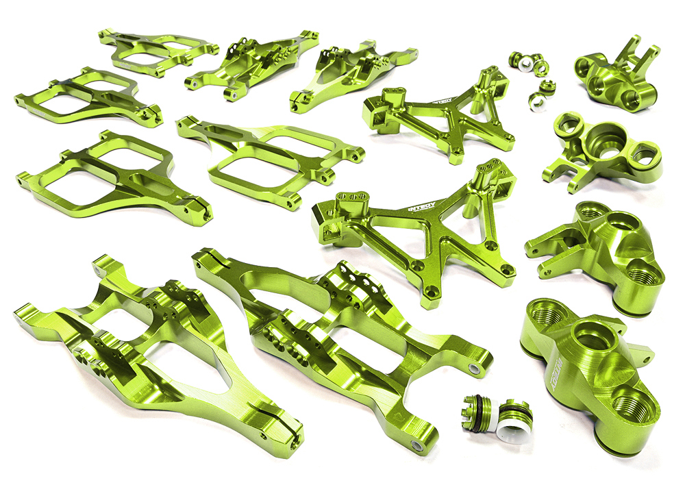 Integy RC Toy Model Hop-ups C25958GREEN Billet Machined Suspension Set for Traxxas 1 10... by Integy