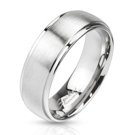 Mirror Polished Edges & Brushed Metal Center Dome Band 8mm Ring Stainless Steel (SIZE: (Brushed Stainless Steel Dome)