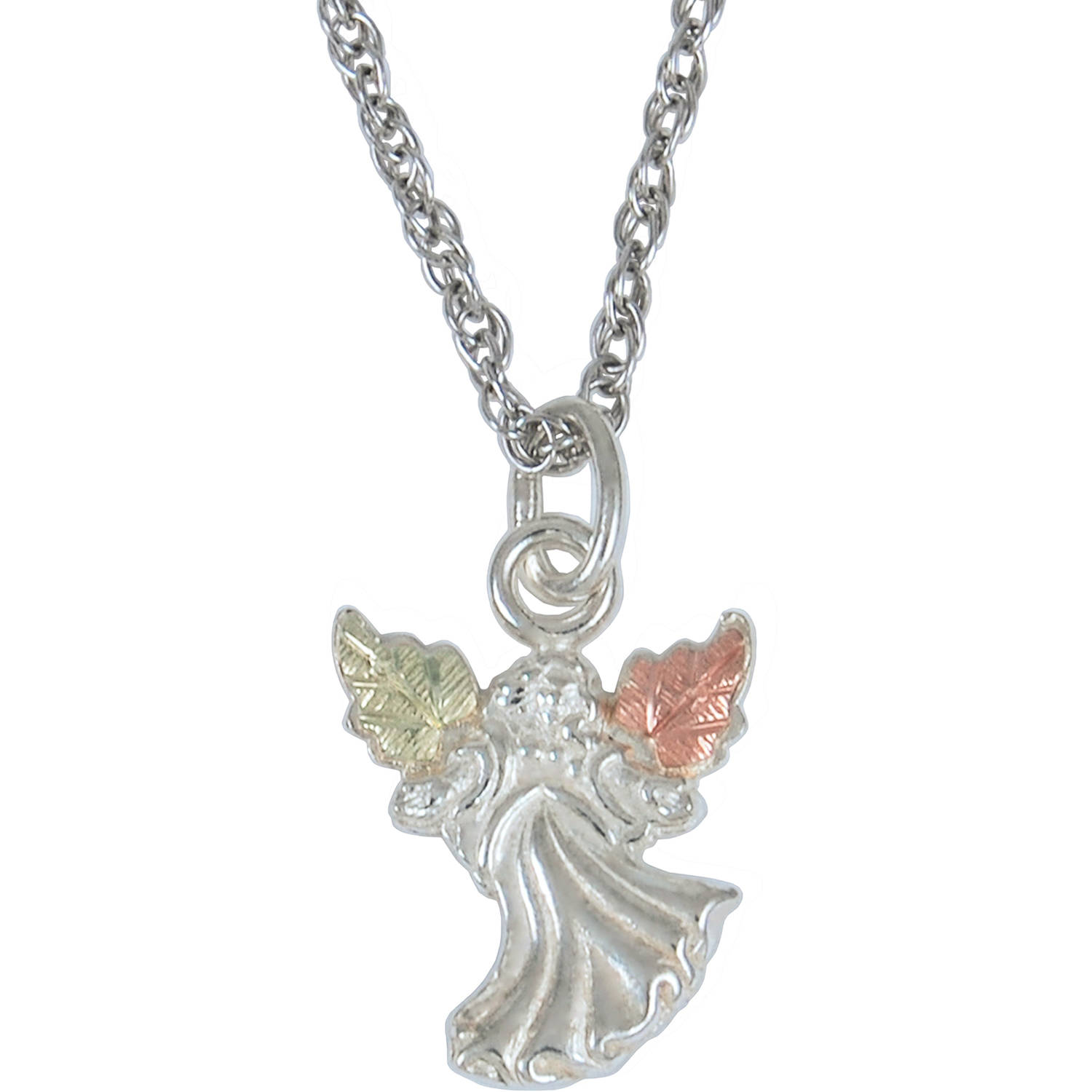 Black Hills Gold on Sterling Silver Angel Pendant, 18""