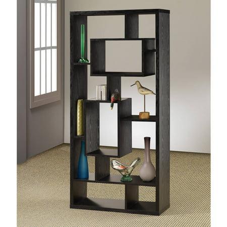 Asymmetrical Cube 10-Shelf Bookcase Black Oak French Oak Cubes