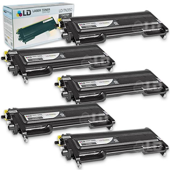 LD Brother Compatible Set of 5 TN350 Black Laser Toner Cartridges for use in DCP 7020, HL 2030, HL 2040, HL 2070N,