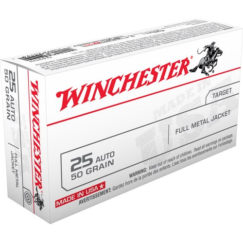 Winchester .25 Automatic 50-Grain Centerfire Pistol Full Metal Jacket Bullets, 50ct