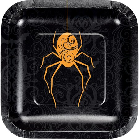 Pack of 12 Orange and Black Hanging Spider Printed Rounded Plate - Black And Orange Spider