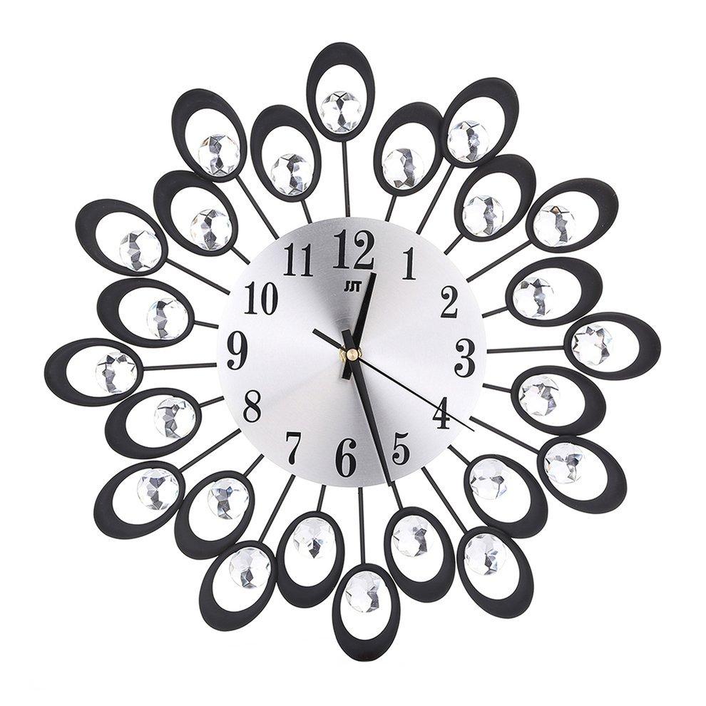 Wrought Iron Wall Clock Diamante Quartz