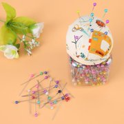 YLSHRF Needles Pin Cushion,500Pcs Beads Needles Quilting Pins in Orange Fabric Covered Pin Cushion Bottle Sewing Craft, Dressmaking Pins