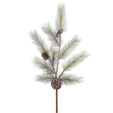 Vickerman E155904-2 34 in. Frosted Bellevue Pine Spray with Cones, 2 per Bag - Pack of 12 - image 1 of 1