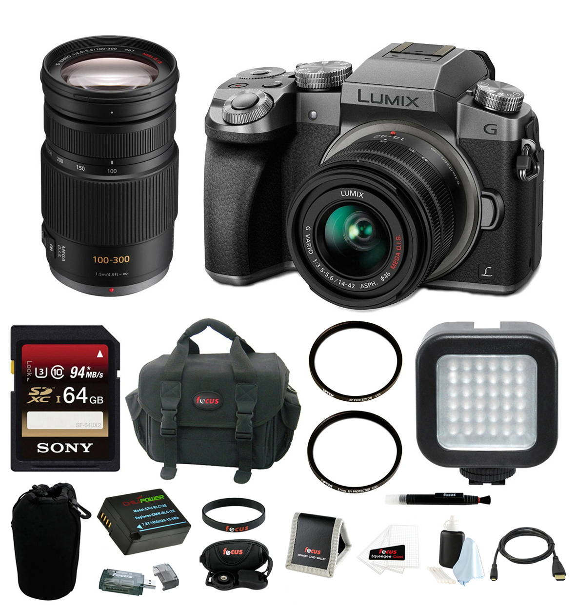 Panasonic LUMIX G7 Camera Kit (Silver) with 14-42mm and 100-300mm Lenses by Panasonic
