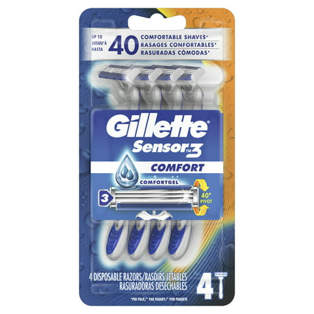 Gillette Sensor3 Comfort Men's Disposable Razors, 4 Ct