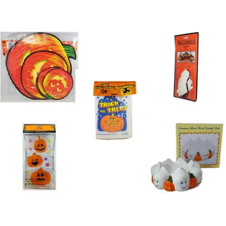 Halloween Fun Gift Bundle [5 Piece] - Classic Pumpkin Cutouts Set of 9 -  Resin