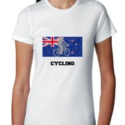 New Zealand Olympic - Cycling - Flag - Silhouette Women's Cotton T-Shirt