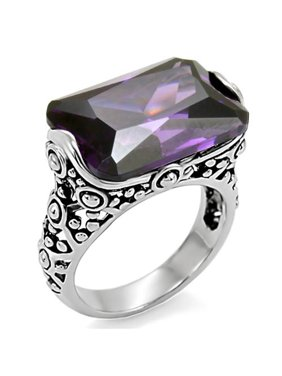 28 Ct Emerald Cut Amethyst CZ Antique Celtic Style Stainless Steel Ring Size 10