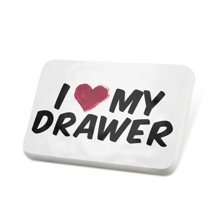 Porcelein Pin I heart love my Drawer Lapel Badge – NEONBLOND