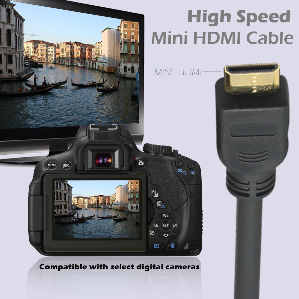 LIVEDITOR Gold Plated HDMI to HDMI Mini cable 1.4v, 0.92 M / 3 FT, 100% Pure Copper - image 2 de 7