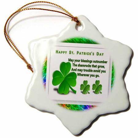 3dRose St Patricks Day - Snowflake Ornament, 3-inch](St Patricks Day Ornaments)