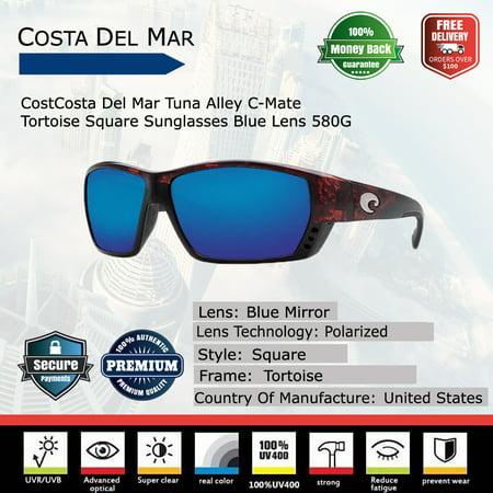 Costa Del Mar Tuna Alley C-Mate Tortoise Square (Costa Sunglasses Tuna Alley)