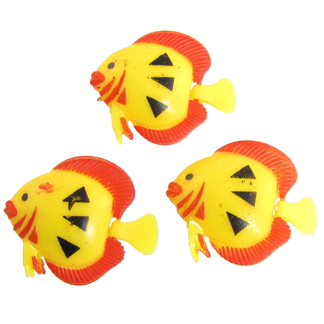 3 Pcs Plastic Yellow Red Tropical Fish Aquarium Decor