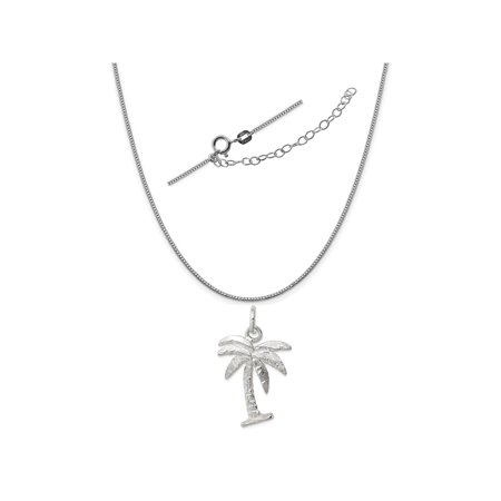 - Sterling Silver Palm Tree Charm on a 0.90mm Box Chain Necklace, 18