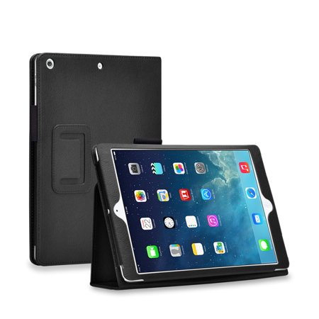 iPad Mini Case (Black) - Slim Fit Synthetic Leather Folio Case Stand with Smart Cover Auto Sleep & Wake Feature and Stylus Holder for Apple iPad Mini 3 & iPad Mini 2