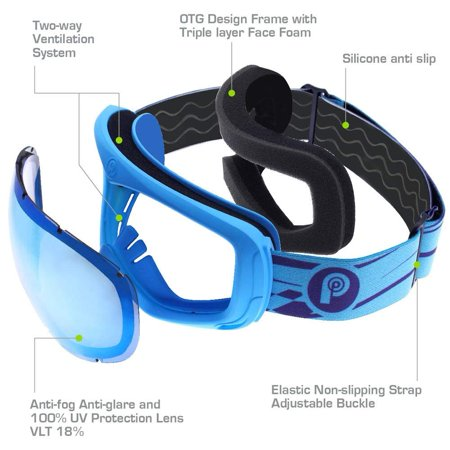 fdbac2d5d78 PICADOR Ski Goggles Over The Glasses Anti-Fog UV400 Protection Lens Youth  Kids - image ...