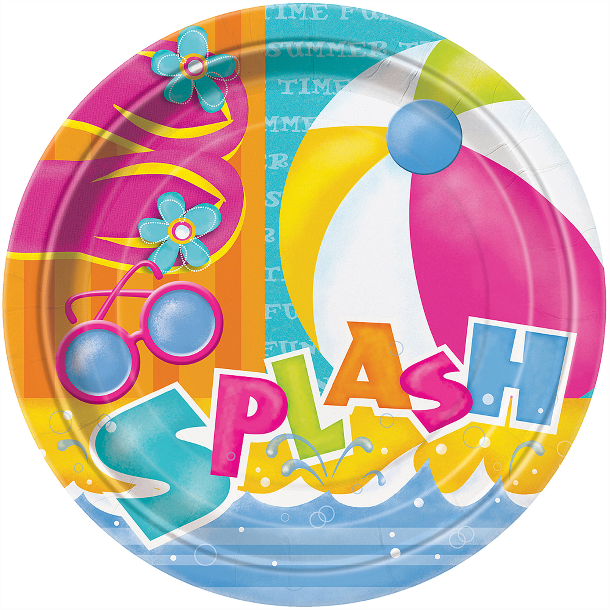 "9"" Pool Party Dinner Plates, 8-Count"