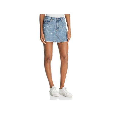 Sunset & Spring Womens Embellished Mini Denim Skirt