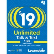 Lycamobile $19 Unlimited 30 Day Plan with International Calling (with 1GB of high speed data, then 2G) (Email Delivery)