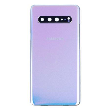 Replacement Back Glass Housing + Back Camera Lens for Crown Silver Samsung Galaxy S10 5G SM-G977, SM-G977U, SM-G977N, SM-G977B (6.7