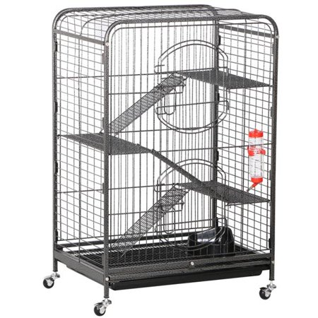 - Yaheetech 37'' Metal Ferret Black Cage w/ Feeder and Wheels