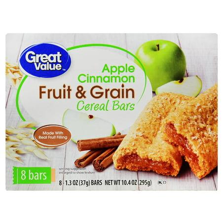Great Value Fruit & Grain Bars, Apple Cinnamon, 1.3 oz, 8 Count