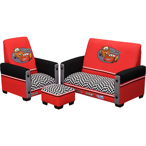 Disney Pixar Cars Toddler Sofa Chair And Ottoman Set Walmart Com