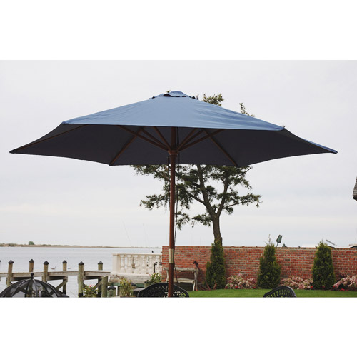 9' Wooden Market Umbrella, Multiple Colors