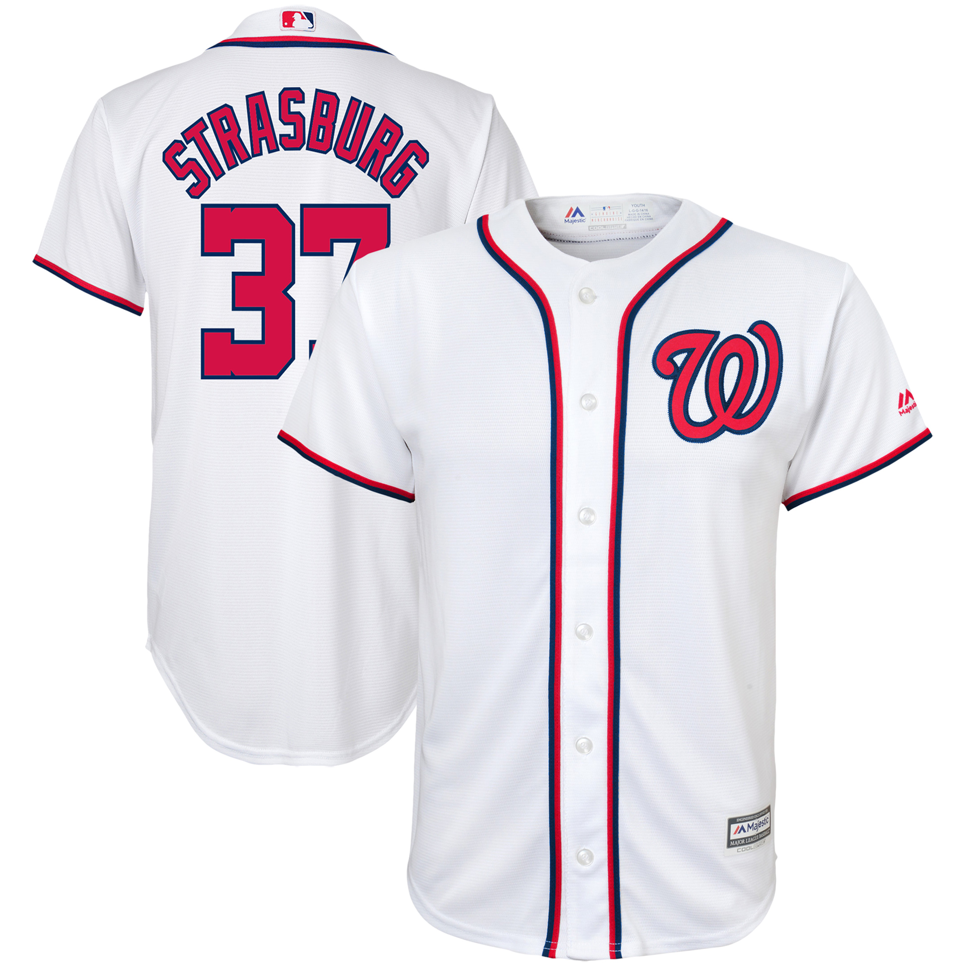Stephen Strasburg Washington Nationals Majestic Youth Home Official Cool Base Player Jersey - White